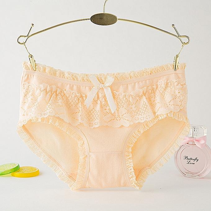 2b1b5ec67c 6 packs Women s cotton underwear candy lace bow cute underwear women s  underwear-Light yellow