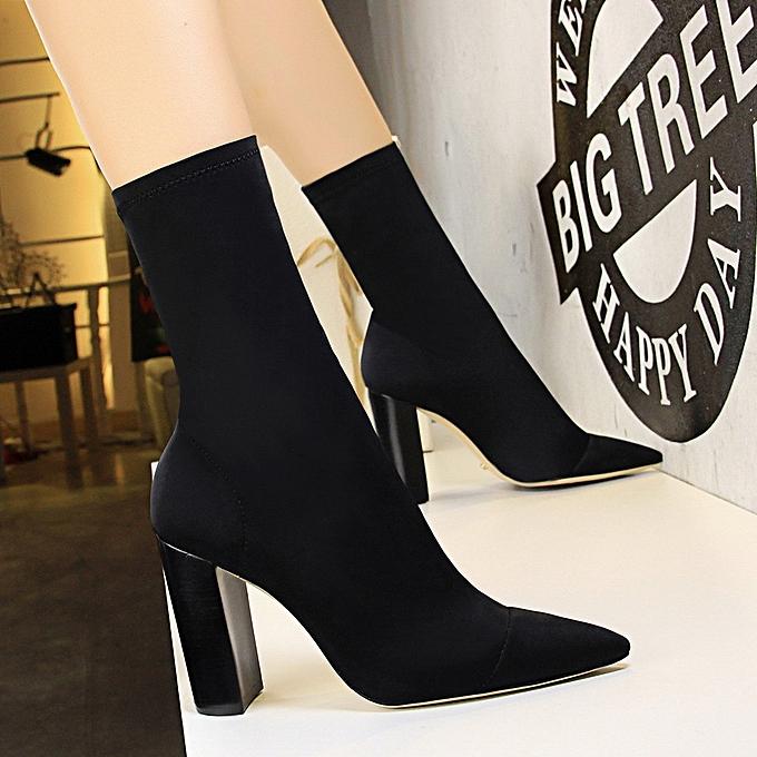 bf14f243ab939 Women Sleek Minimalist Wood Grain With Thick With High Heel Pointed Elastic  Lycra Sexy Nightclub Slim