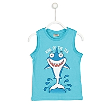 Turquoise Fashionable Solid Regular Crew Neck Jersey Tank Top