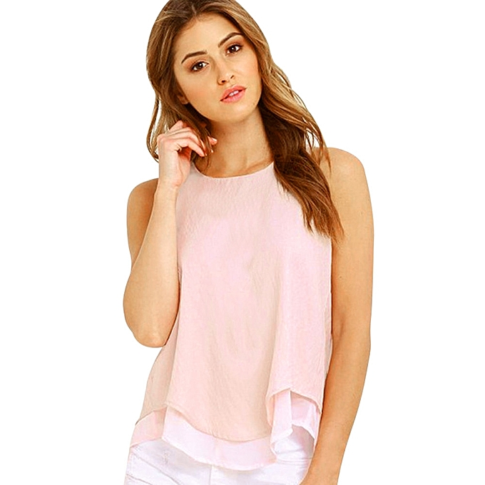 229714c45acd2d Generic Generic Women Sleeveless Tank Solid Chiffon Top Ruffles Shirt  Backless Vest Blouse A1   Best Price