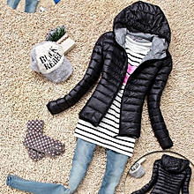 Fashion Fashion Women's Casual New Hooded Winter Warm Cotton Parka Jacket Coats Coat-Black