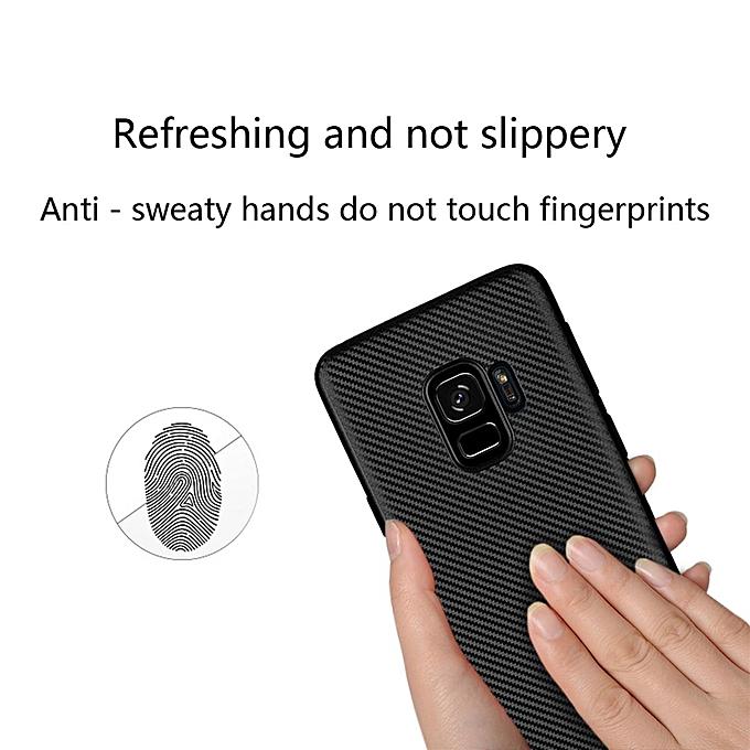 Samsung Galaxy S9 Case, Ultra Slim Carbon Fiber Design Soft Flexible TPU  Anti-Shock Cover Case For Samsung Galaxy S9 139077 (Black)