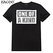 ZACOO Men's Summer Letters Printing Crew Neck Short Sleeve Pullover Pure Cotton T-shirt Color:Black Size:XXXL