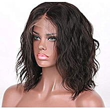 14 Inches Human Hair Lace Front Wig-Black