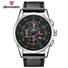 Watches, 80191 Luxury Brand Man Leather Watch Sports Casual Quartz Watches For Men Leisure Clock Military Watch - Black