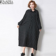 ZANZEA Women Autumn Polka Dot Lapel Neck Full Sleeve Boyfriend Style Loose Blusas Vestido Casual Long Shirt Dress Plus Size