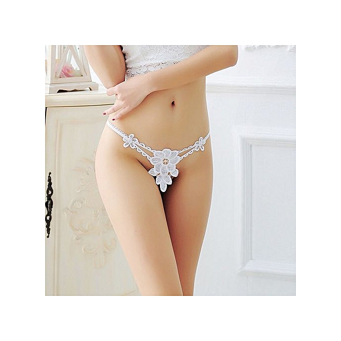 98a90410c Wenrenmok Store Women Thong Bragas Sexy Panties Thong Lace Word Pants Ladies  Briefs Underwear-White
