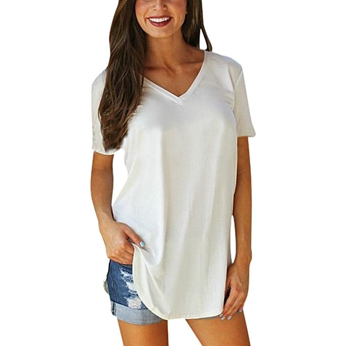 9a82a4fea064 Plus Size Womens Summer Short Sleeve V-Neck Basic T-Shirt Irregular Shirt  Casual