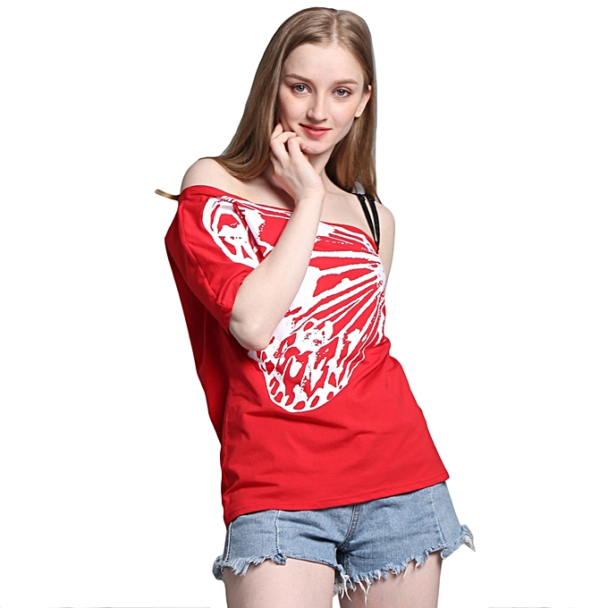 6cd8b60f909b78 ... Summer Women Off Shoulder T-Shirt One Shoulder Short Sleeves Butterfly  Print Loose Solid Casual ...