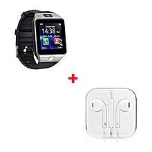 DZ09 Smart Watch Phone With Free Earphone -  Black