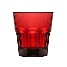 ROCK TUMBLER GLASS 240ml - RED  8.5oz Stackable