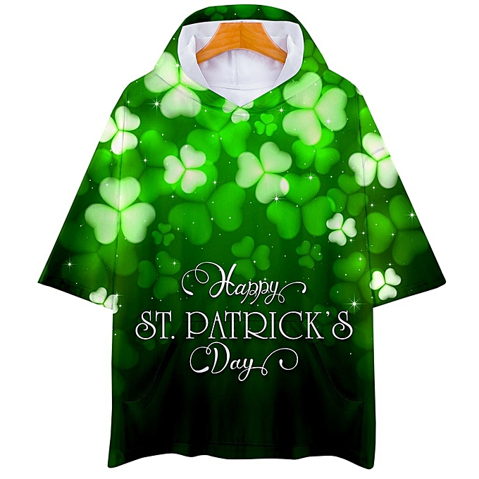 32fc84808 jiahsyc store Women Man ST. Patrick's Day Green Short Sleeve Hooded Print  Tops Blouse T