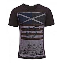 Men's Geometric Print T-shirt - Brown