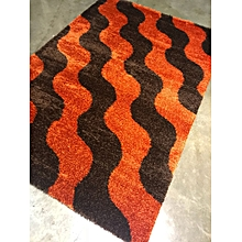 Fluffy /shaggy carpet 8ft by 11 ft  -Orange&Black