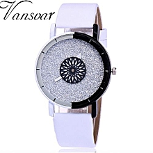 Fohting  Vansvar Women's Casual Quartz Leather Band Newv Strap Watch Analog Wrist Watch -White