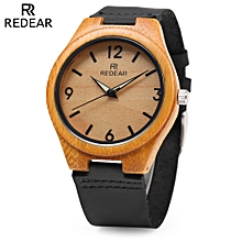 REDEAR SJ 1448 - 8 Wooden Female Quartz Watch Leather Strap Luminous Pointer Wristwatch