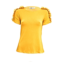 Yellow Short Sleeved Women's Top With Lace On The Shoulder