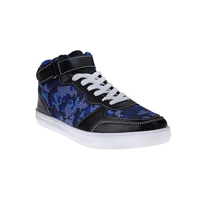 0ba5d87fb2c8 Fashion Men Patchwork High-Top Sneakers - Black+Blue   Best Price ...