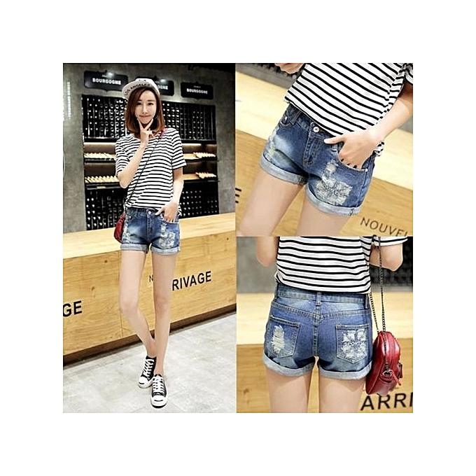 5f9c8aa43902 Slim Frayed Hot Pants Girls Short Jeans Summer Short Pants Denim Shorts  Casual Beach Slim Trouser