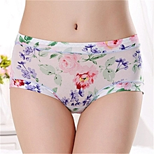 TB Women Sexy Skin-friendly Underpants Floral Prints Middle Waisted Briefs light purple
