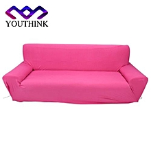 3 Seater Full Stretch Polyester Pure Colour Protect Slipcovers Rose Red