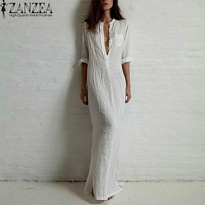 564571d18d186 ZANZEA Plus Size Fashion Long Sleeve Vestidos Spring Autumn Women Split  Sexy Casual Dress O Neck