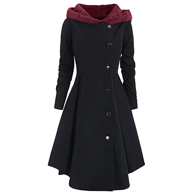 e8a9bd2c12a9f Fashion Leadsmart Plus Size Asymmetric Fleece Contrast Hooded Skirted Coat