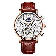 Luxury Diamond Automatic Mechanical Watch Water-Proof Self-Wind Skeleton Man Business Wristwatch Chrono  Leather + Box