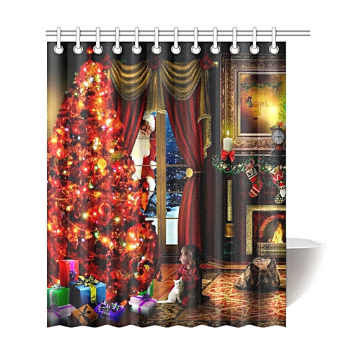 Custom Merry Christmas Fabric Waterproof Bathroom Shower Curtain 66 x 72