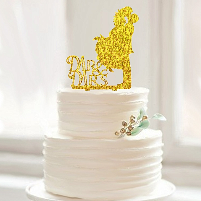 Buy Generic Mr&Mrs Cake Topper Silhouette Silver Gold Wedding ...