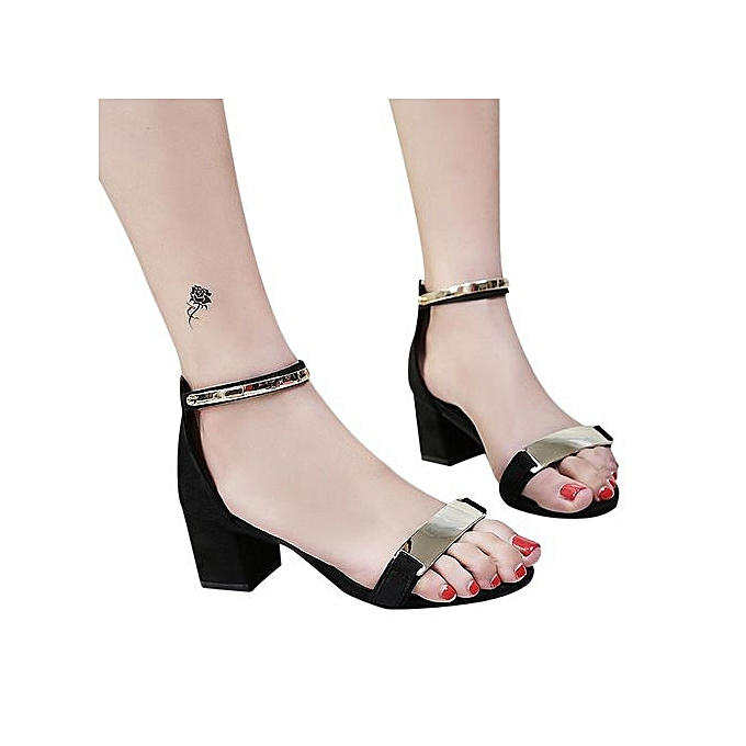 41a1b9f5f9e2 Xingbiaocao Fashion Women Ladies Sandals Ankle High Heels Block Party Open  Toe Shoes -Black