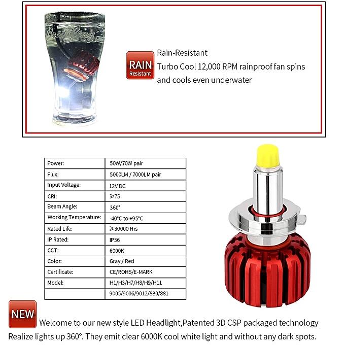 LED Headlight Kit Turbine Fan 12V LED H7 360 Degree 6000K H1 H3 H8 H9 H11  HB3 HB4 H27 HIR2 LED Car Light Lamp Bulbs(70W Pair (Red Body))