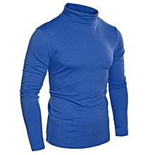 COOFANDY Men Fashion Slim Fit Thermal Underwear Turtleneck Long Sleeve Solid T-Shirts ( Blue )