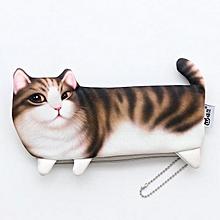 WAM PC-08 Simulation Cat Pencil Case School Stationery Pen Bag Multifunctional Cosmetic Bag