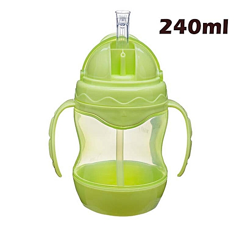 240/330ML Feeding Bottles Leakproof Learning Drinking Cup Double Handle  Flip Lid Rotated Cups Infants Water Cups Safe Bottle(240ml Green Handle)