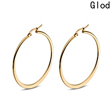 Simple Style Big Oversize Circle Earrings 18k Gold Plate Rose Gold Round Hoop Sleeper Earrings 20mm-60mm