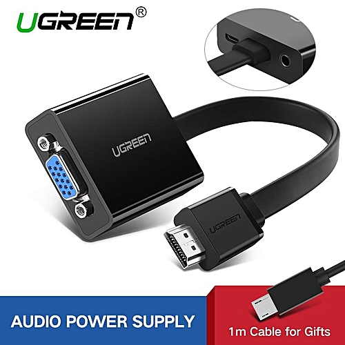 Ugreen UGREEN HDMI to VGA Adapter Digital to Analog Video Audio Converter Cable HDMI VGA Connector for Xbox360/ PS4 /Xiaomi Huawei TV Box/PC Laptop (Black) ...