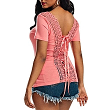 Women Lace-Up Laced Top - Orange+Pink - XL