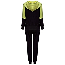 Women Hooded Color Block Loose Twinset - Yellow