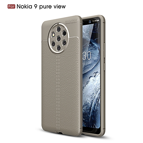 Generic Nokia 9 PureView Silicone Case Litchi Pattern TPU Anti-knock Phone Back Cover - Gray