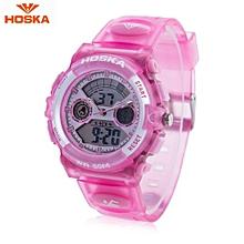 HD006B Dual Movt Kid Sport Quartz Watch Day Alarm Chronograph Display LED Digital Wristwatch-Pink-Pink