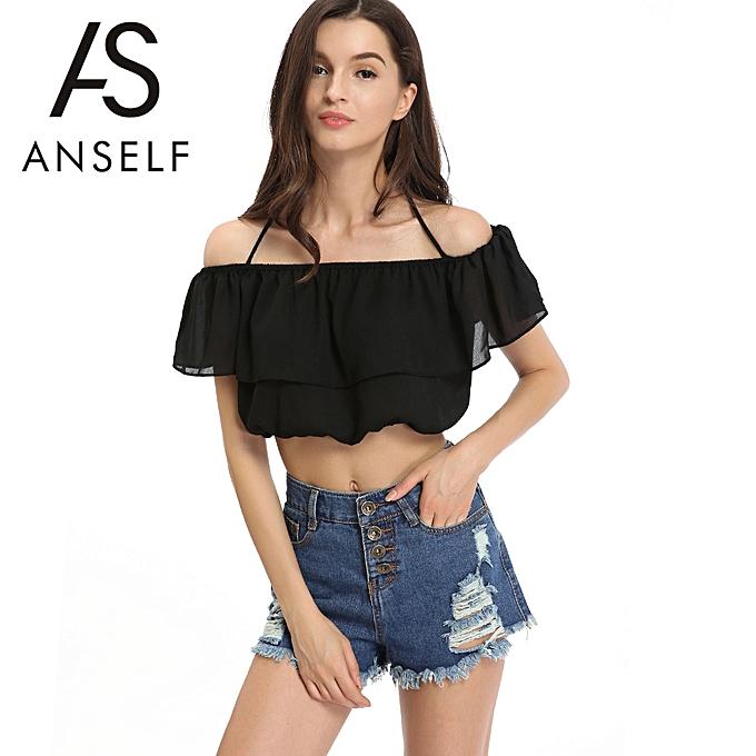 64cb91f371a New Fashion Women Chiffon Crop Top Off the Shoulder Tie Neck Elastic Trim Cropped  Top Black