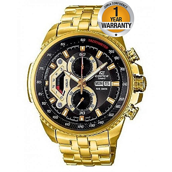 39dfdf3754e CASIO EDIFICE Gold Tachymeter Stainless Steel Strap Watch   Best ...