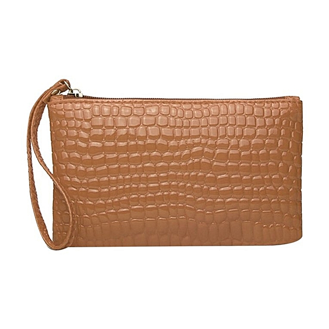 d576d66e4d2 Crocodile Pattern Women Wallet Purse Card Phone Holder Makeup Bag Handbag  brown