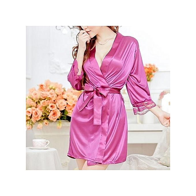 6606640c90 Women Fashion Fantastic Sexy Wild Temptation Lace Sleepwear Bathrobe + G- string-Rose