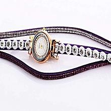 Women Ladies Metal Decorative Circle Quartz Watch Winding Bracelet PP