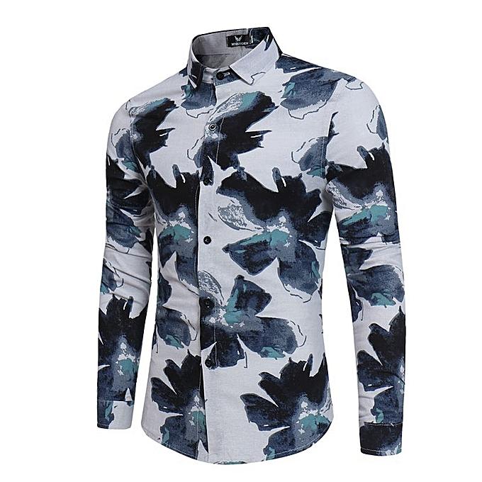 2cf5c0f16 Fashion Men's Floral Shirts Long Sleeve Flower Hawaiian Casual Shirt ...