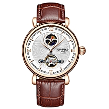 J031 Business Men Automatic Mechanical Watch Time Moon Phse Display Fashion Casual Leather Strap Male Wristwatch Relogio Musculino