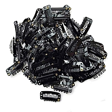 40PCS U Shape Iron Snap Clips For Feather Hair Extensions Wigs Weft Black