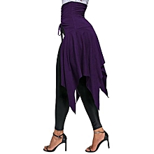 Women Lace Up Front Slit Asymmetrical Skirt - Purple